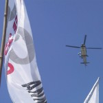 A helicopter above the protest