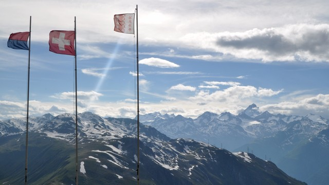 Flags atop the pass